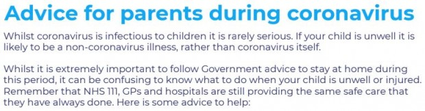 Advice and Information for Parents during the Coronavirus Pandemic